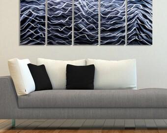Bold Modern Black & Silver Abstract Metal Wall Art Sculpture - Large Handmade Metal Wall Painting - Night Energy 2 by Jon Allen
