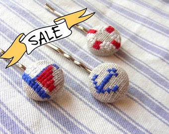 SALE - Nautical - Hair Pin Trio