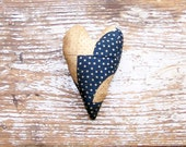 Antique Quilt Heart, Primitive Valentine Heart, Handmade Heart, Americana Decor, Primitive Decor, Blue & White Stars - READY TO SHIP