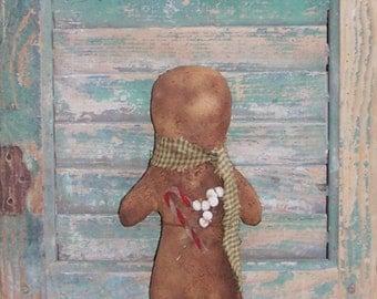 Gingerbread Doll, American Made Primitive Doll, Handmade Christmas Decor, Sage  Green Homespun Scarf, White Tallow Berries