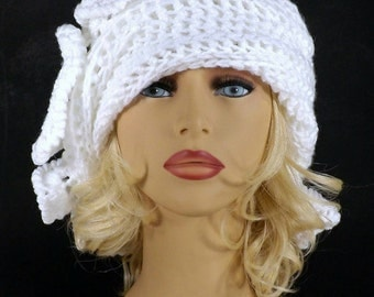 White Crochet Hat Womens Hat, Womens Crochet Hat, Ruffle Crochet Beanie Hat, White Hat, African Hat, CYNTHIA Beanie Hat for Women