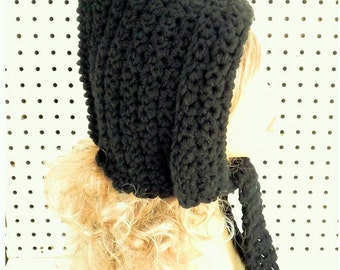 Crochet Hood Hat, Crochet Hat Womens Hat Trendy Crochet Scarf, Hood Scarf, Maiden Hooded Scarf, Winter Hat, Black Hat