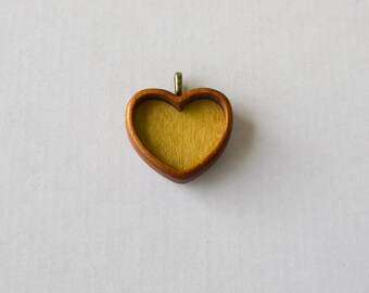 Top quality hardwood pendant setting - Mahogany and Yellowheart - 30 mm - Brass Bail