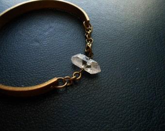 omega ii - herkimer diamond crystal cuff bracelet - repurposed vintage occult inspired jewelry