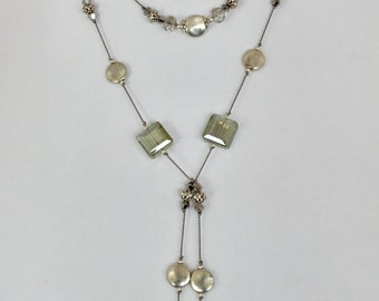 Antiqued Silver  Stones Lariat with Swarovski Crystals hand knotted on grey griffin silk cord