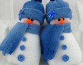 Snowman Ornaments - Set of 2! Flurrie Frizzle Christmas Decoration, Handmade Stuffed Snowman Ornaments in Tie Dye Blue Fleece