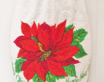vintage terry poinsettia Christmas and New Year apron