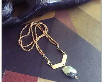 Prehinite Brass Arrow Pendant Necklace - Chevron geometric Statement - detachable chain Necklace - Choose your chain length