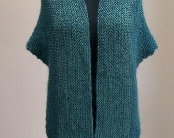 SALE - Custom Made Hand Knit Shoulder Shawl Scarf Cowl Wrap, Stylish Comfort Prayer Meditation, Turquoise Blue, FREE SHIPPING