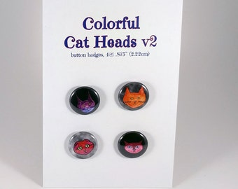 Colorful Cat Heads v2, 4-pack pin back button badge