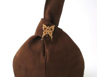 wristlet bag, brown clutch, wristlet purse ,small purse, evening bag, fabric wristlet, vegan purse