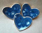 THREE itty bitty  Heart Ring Dish Starry Starry Night blue with star bursts