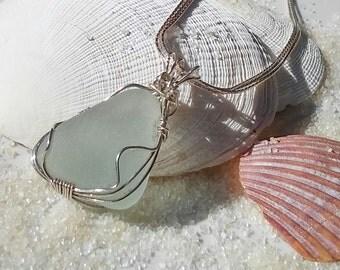 Bermuda Seafoam Seaglass Wrapped Pendant in Sterling Silver