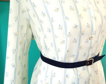 Vintage White and Blue Striped Blouse with Floral Print Plus Size