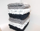 Crochet Dishcloth/ Washcloth - Handmade Wash Rag -Set of 6 Kitchen Dish Cloths-Extra large size-Blacks and Gray Color