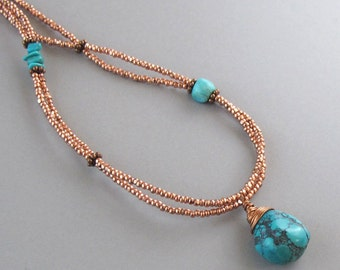 Copper Glass Bead Wire Wrapped Turquoise Necklace Double Strand Aqua Boho Cottage Chic Southwestern