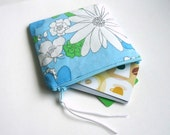 Floral Zipper Pouch, choose your size, Coin Purse, Cosmetic Case from Vintage fabric, gift for her, Easter basket stuffer, Mother's day gift