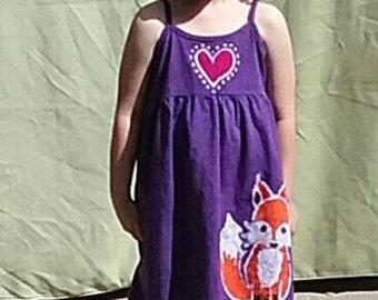 Girls Handmade Batik Fox with Hearts Tank Dress