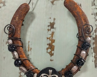 Beaded Horseshoe with Heart