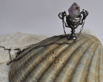 NEW chalice // silver and raw amethyst pendant