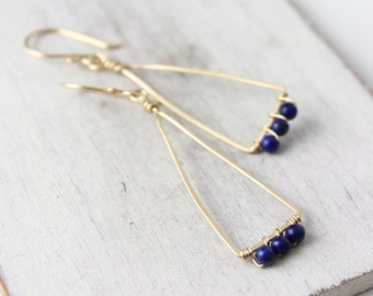Lapis Wrapped Gold Triangle Earrings
