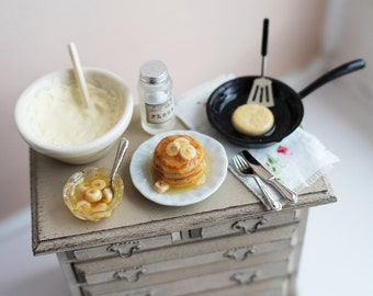 Dolls House Miniature Making Pancakes Set