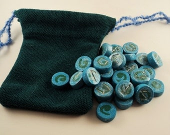 Little Earth - Futhark Rune Stones - Hand Made Futhorc Rune Stone Set and Cloth Pouch
