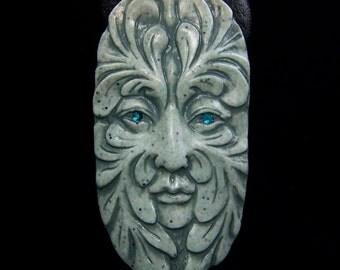 faux Stone Greenman Face Cab leaf spirit handmade Cabochon polymer clay with Crystal Eyes green