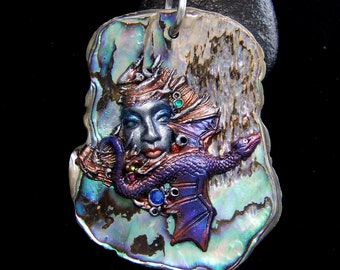 Dragon Lady Paua Shell Cameo Pendant or Bead handmade Shell, Crystal, and Polymer Clay Goddess Jewelry