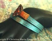 Sale... Turquoise blue smashed metal knitting needle BANGLE with button tips... fun vintage boho GYPSY style bracelet