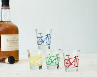 Bicycle Shot Glasses, single Red, Yellow, Blue, or Green screen printed bike