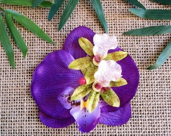 Purple Orchid Hair Clip- Tropical Hair Clip, Rockabilly Pin Up
