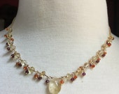Citrine, carnelian and garnet wire wrapped necklace