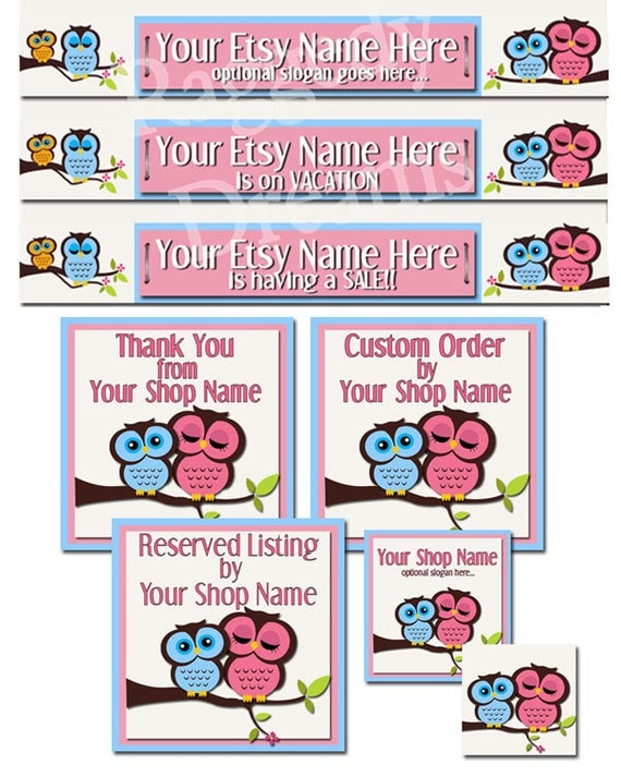 Premade ETSY Shop Banner Set - Etsy Banner - SHOP ICON - Shop Profile Photo - Cute Whimsy Pink Blue Owls Boutique Style