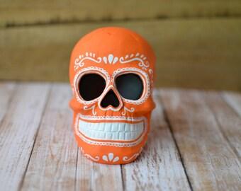 Orange Sugar Skull Day of the Dead