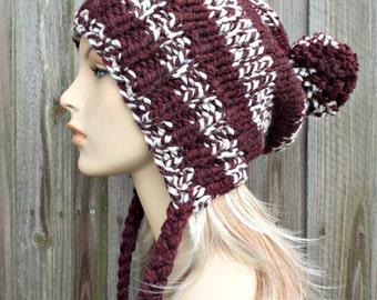Burgundy and Cream Slouchy Pom Pom Hat - Charlotte - Slouchy Beanie Winter Hat Womens Hat