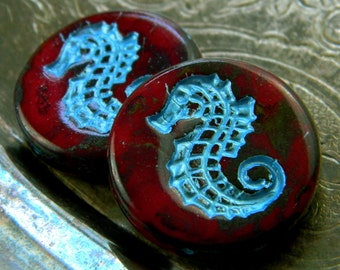 Dragón Marino (2) -Czech Glass Seahorse Coins 23mm
