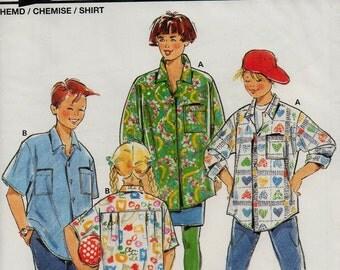 Unused Child's BUTTON FRONT SHIRT Pattern Burda 4757 Size 4-10 Super Easy Sewing Boys & Girls