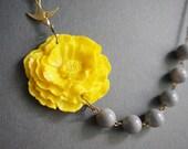 Statement Necklace Flower Necklace Poppy Necklace Yellow Necklace Grey Necklace Gray Necklace Bridesmaid Jewelry Wedding Necklace Gift