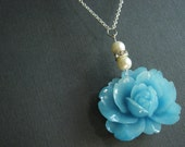 Bridesmaid Jewelry Set,Aqua Flower Necklace,Aqua Necklace,Flower Necklace,Ivory Pearl Necklace,Pearl Necklace,Crystal Necklace,Wedding Set