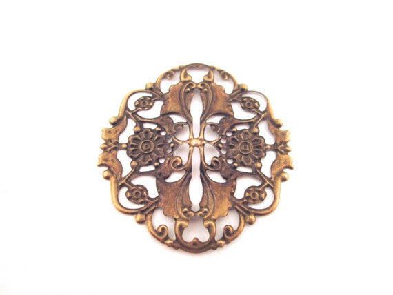 ON SALE, 48 brass plated filigree stampings, beautiful nouveau style, 40x41mm