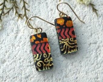 Golden Black Red Earring, Copper Gold Earrings, Dangle Drop Earring, Dichroic Earrings, Fused Glass Jewelry,Gold Filled Earring, 062216e108