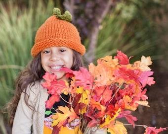 Child Pumpkin Hat, Chunky Pumpkin Hat, Pumpkin Beanie, Big Kid Hat, Older Child Hat, Chunky Knits, Chunky Knit Hat, Chunky Beanie