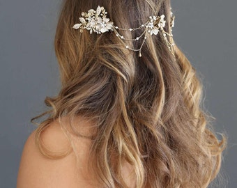 Bridal swag headpiece - Flower cluster swag headpiece - Style 616 - Ready to Ship