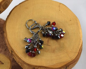 Blackjack red and black gunmetal finish Swarovski Crystal cascade french hook earrings