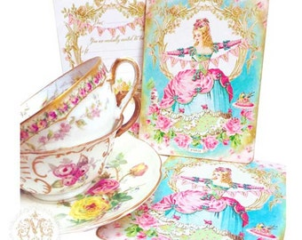 Marie Antoinette, tea party, invitations, high tea, shower tea, tea party bunting, Paris, baroque, vintage style, birthday party invitations
