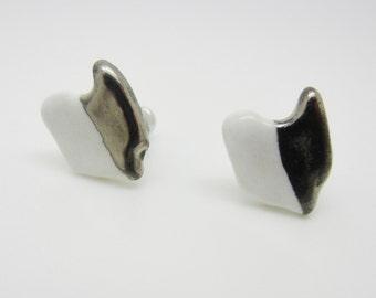 Metallic Silver and White Half Dipped Ohio Earrings Glazed Ceramic on Nickel Free Titanium Studs