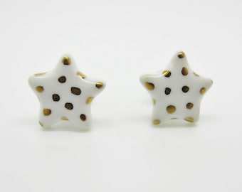 Metallic Gold Polka Dot Star Earrings on Titanium Posts 100% Nickel Free
