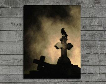 Crow Photograph, Brown Tones, Foggy Weather Image, Dark Art, Rook, Raven, Blackbird, Gothic Picture - Dark Gothic Fog