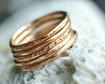 set of FIVE (5) skinny Stacking Rings - 14k gold filled-  pick your textures - thin bands